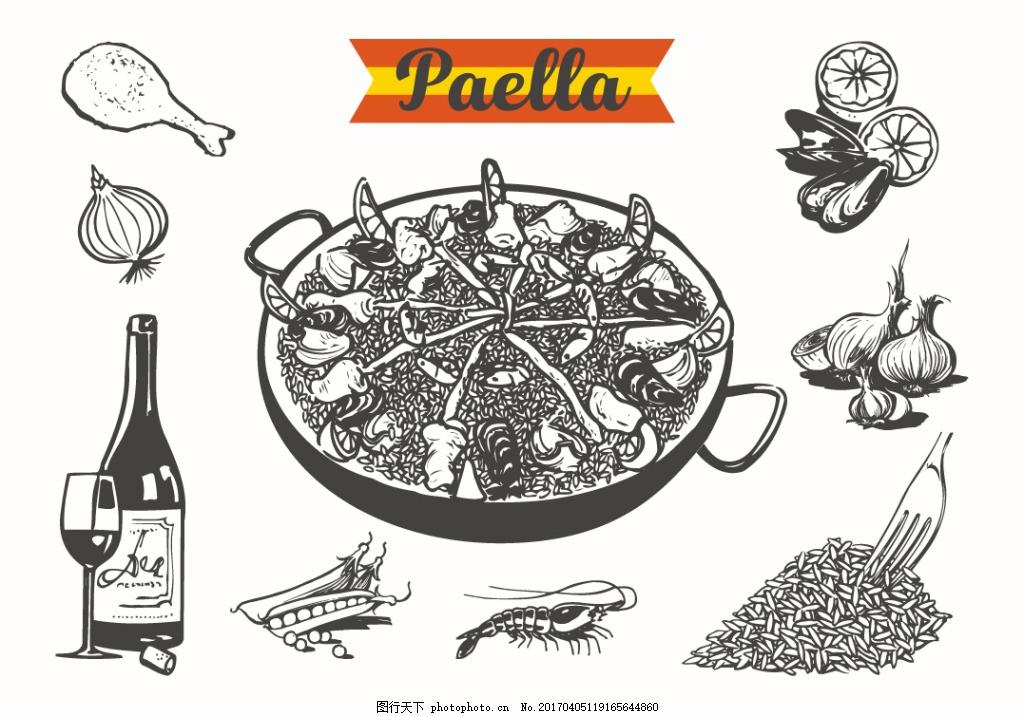 矢量手绘韩国美食插画 食物 手绘食物 矢量素材 扁平化食物 手绘美食