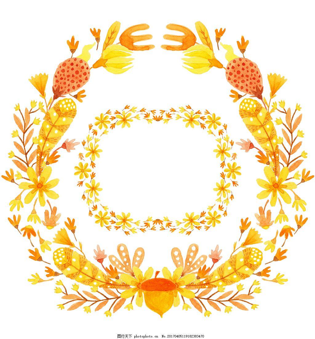 黄金唯美手绘花环