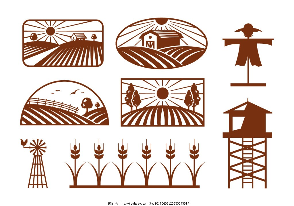 稻田矢量插画 麦穗 麦穗图标 麦子 矢量素材 手绘植物 手绘麦子