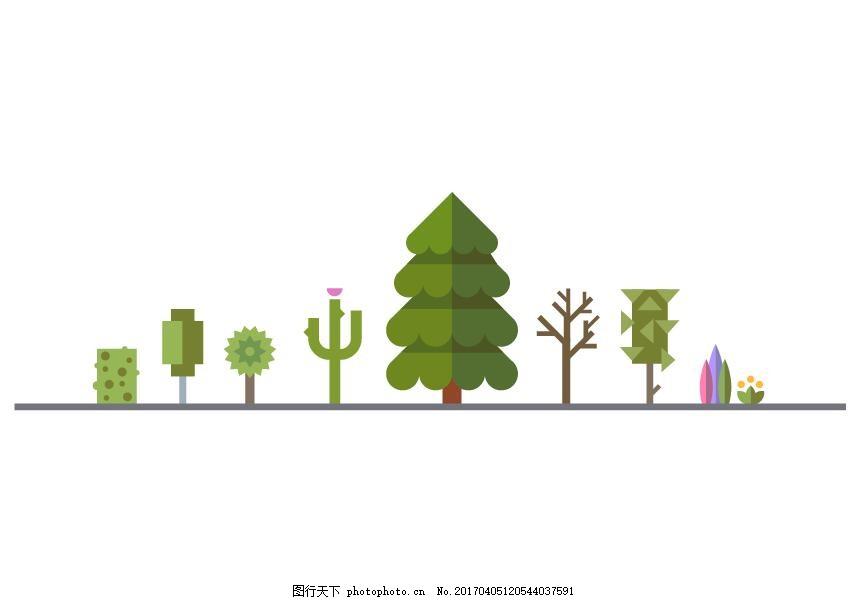 树木矢量素材建筑扁平化图标 绿树 绿化 小树 柳树 信息标签 彩色图标