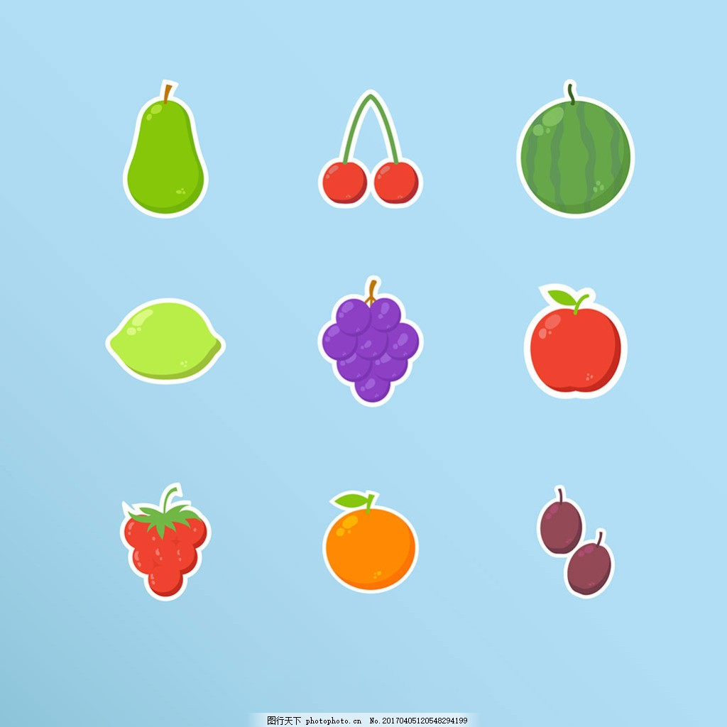 手绘水果贴纸图标