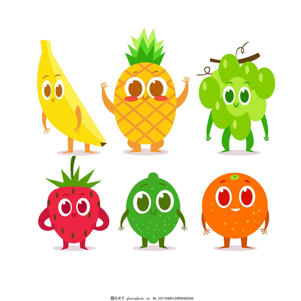 手绘扁平风格可爱的水果人物表情图标
