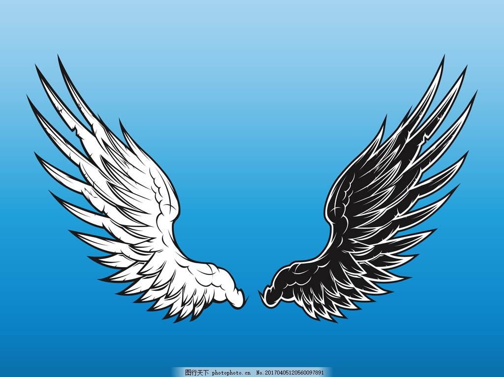 天使恶魔手绘翅膀