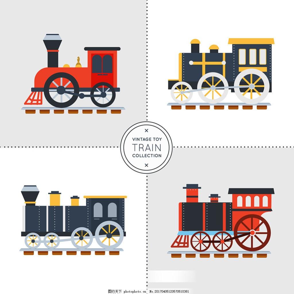 手绘老式火车平面设计图标