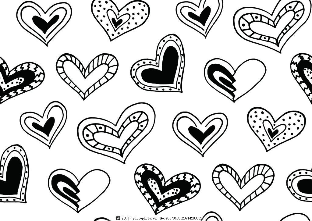 可爱卡通爱心嘴唇矢量底纹矢量素材 手绘 黑白 卡通 爱心 嘴唇 矢量