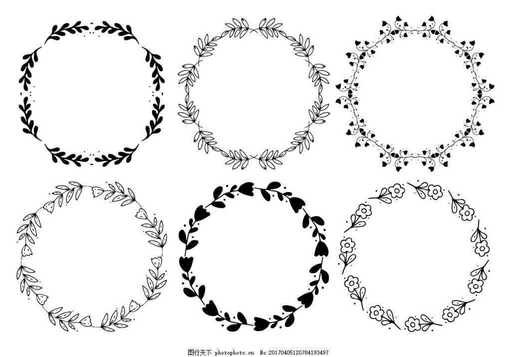 花卉花环 手绘花卉 花卉花朵 手绘植物 花环素材 矢量素材 边框