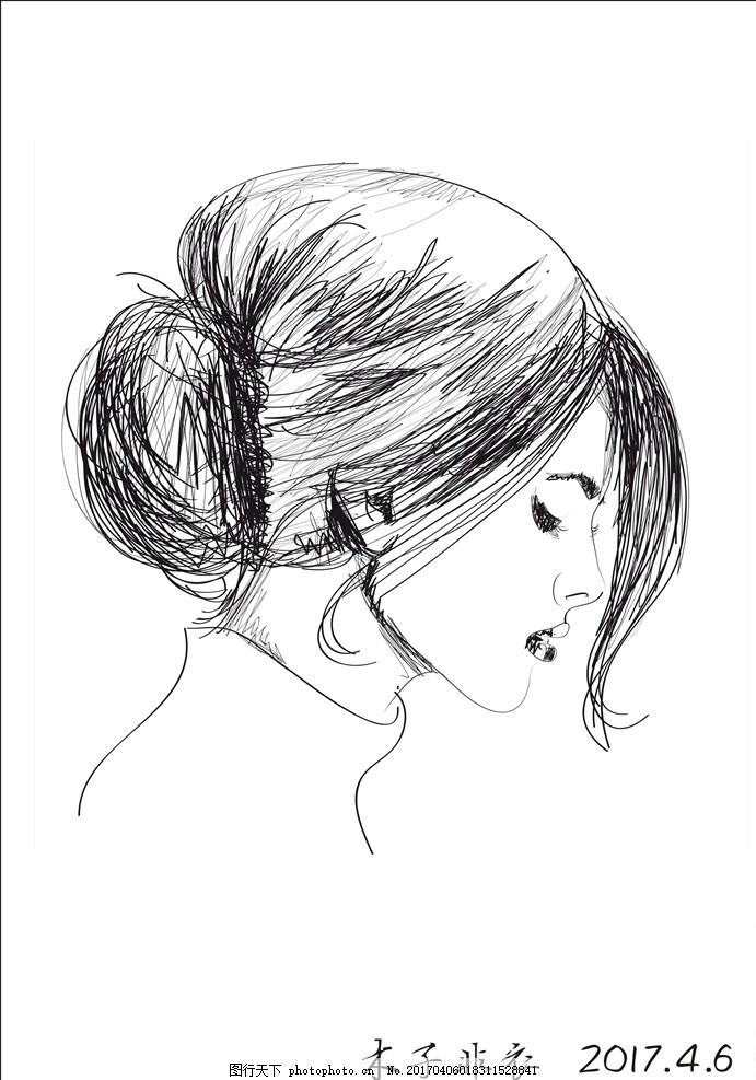 钢笔画女人像 钢笔画 女人侧脸 钢笔速写 时尚女人像      设计 动漫
