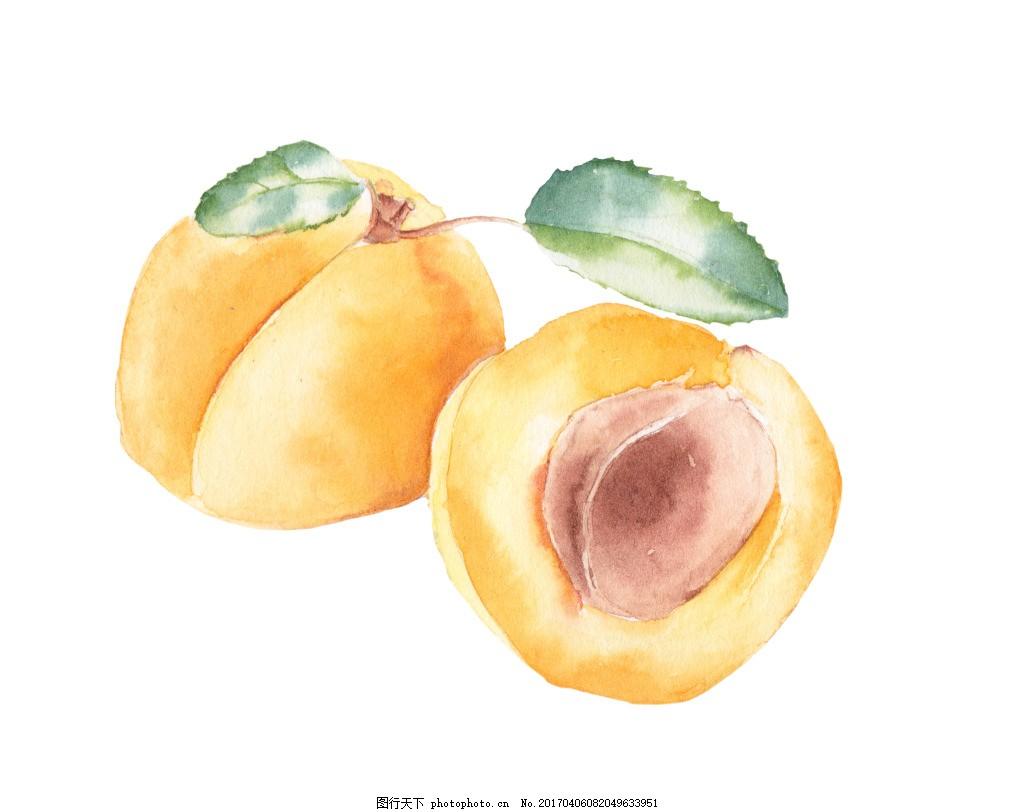 黄桃手绘 黄色 好看的 水果 配图