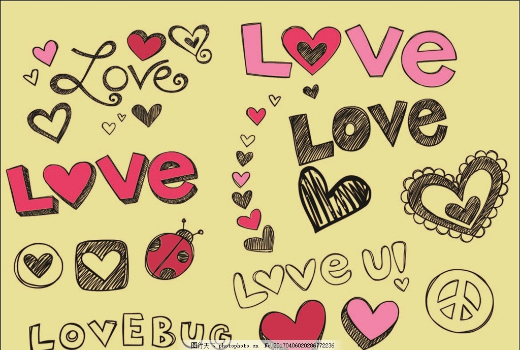 手绘英文字母 爱心矢量素材 手绘素材 婚庆素材 卡通素材 装饰素材