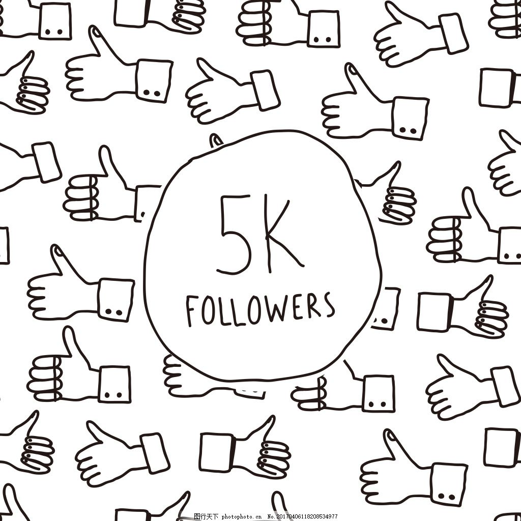 5k运动点赞手势背景 图标设计 运动图标 矢量素材 大拇指