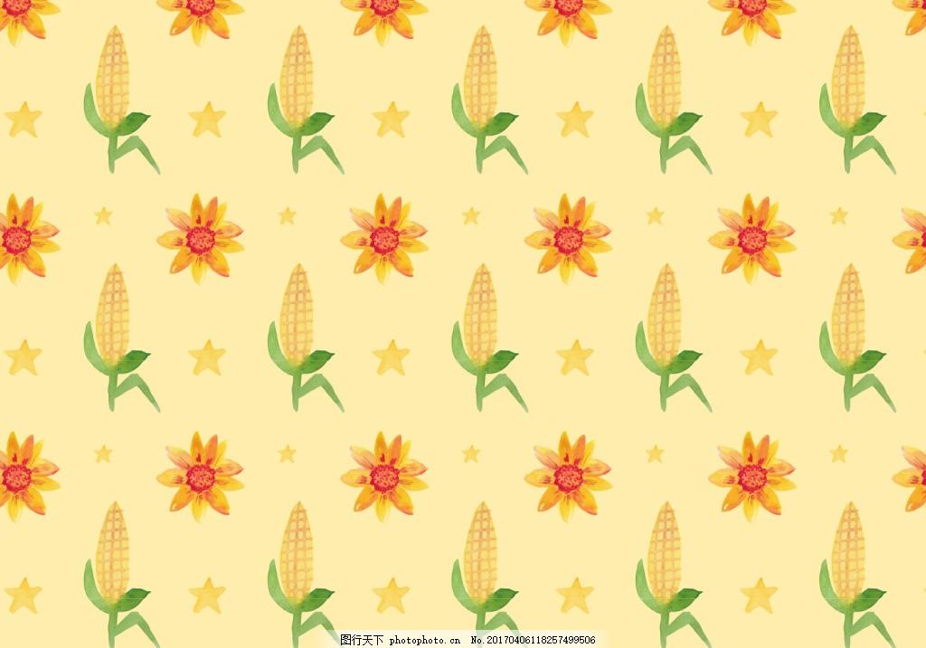 手绘花卉玉米背景素材