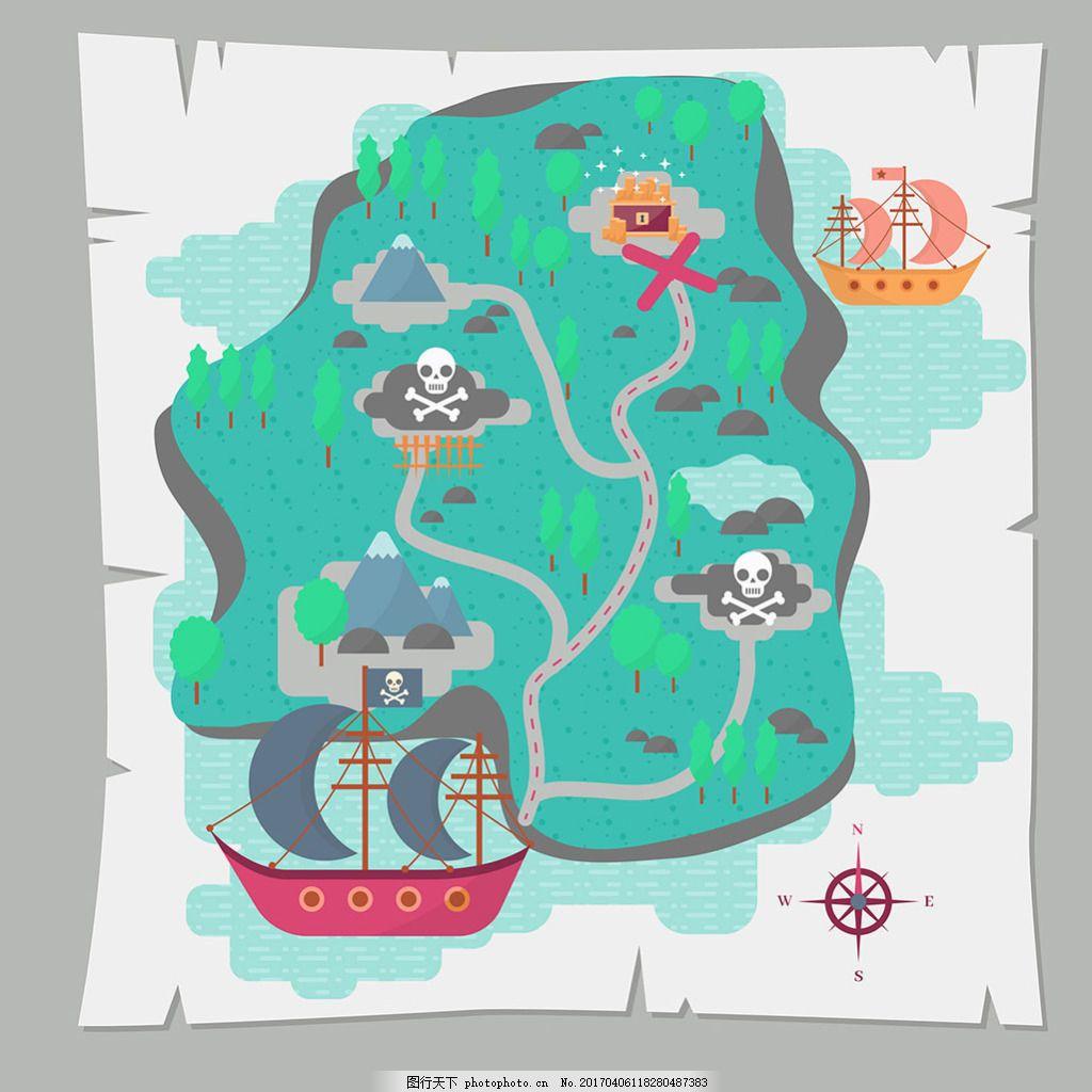 宝藏地图背景与海盗船