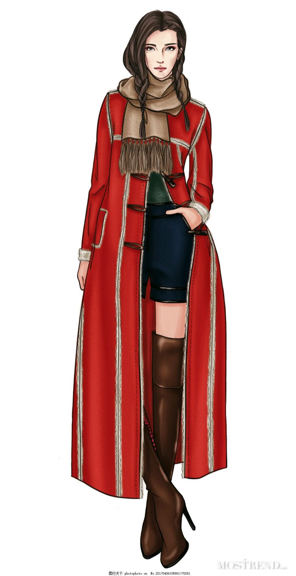 服装手绘效果图 秋冬 女装设计 长款大衣