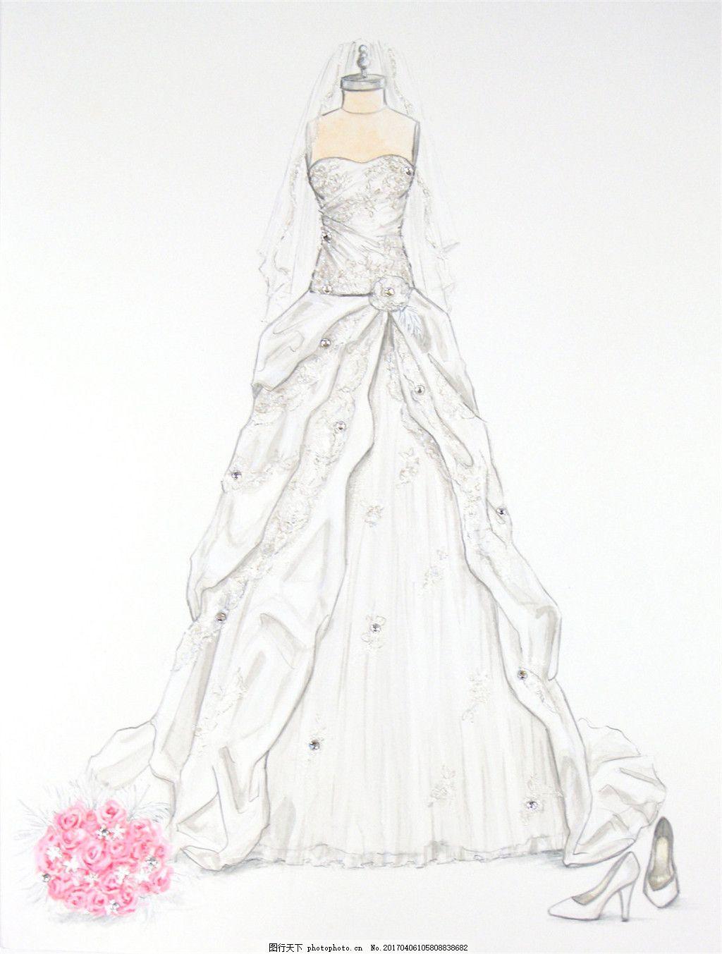 白色抹胸婚纱设计图