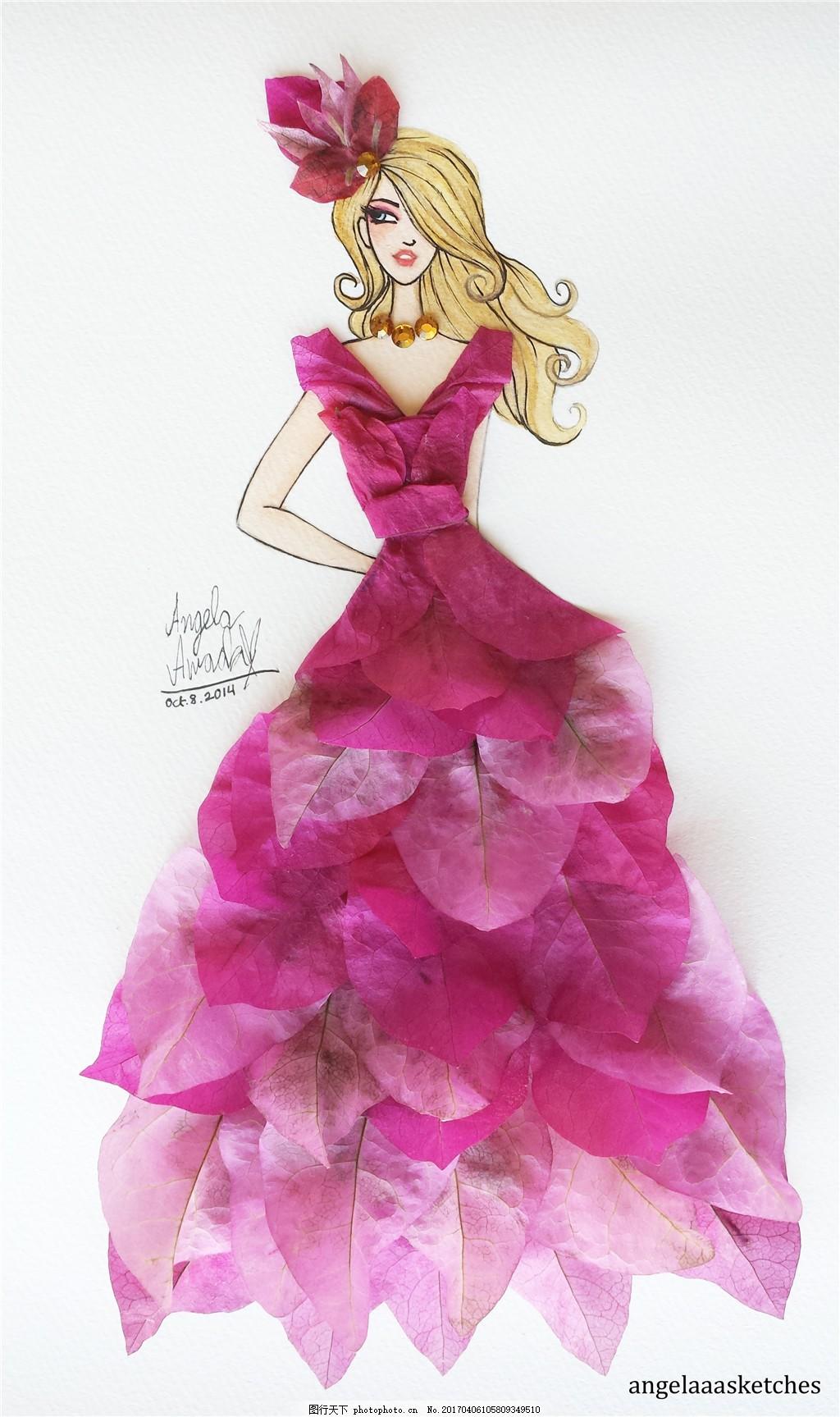 三角梅花瓣灵感礼服设计图
