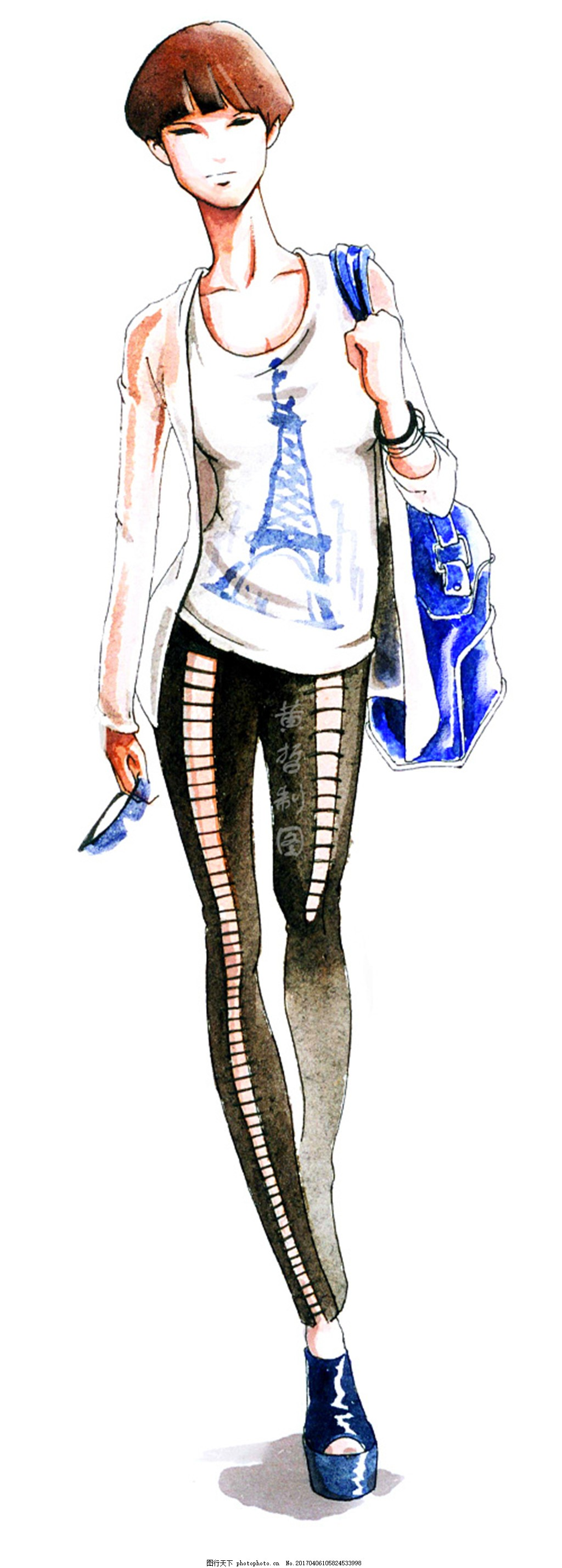 时尚女装设计手绘图,职业女装 职业装 女装设计效果图