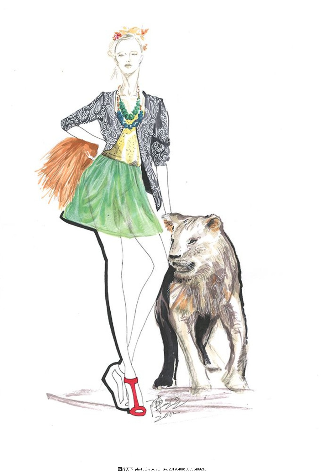女装与狗手绘图
