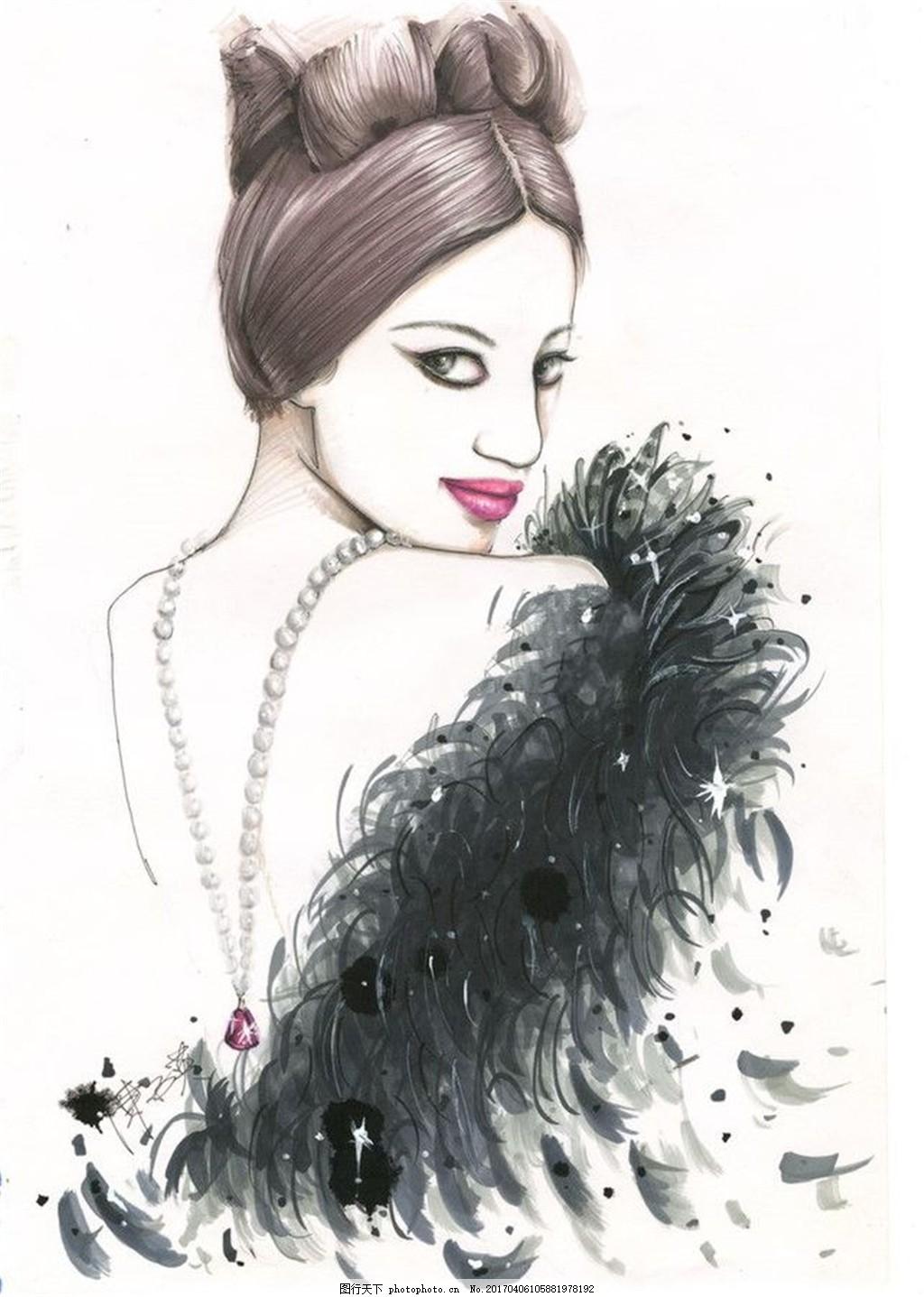 毛绒女装设计手绘图