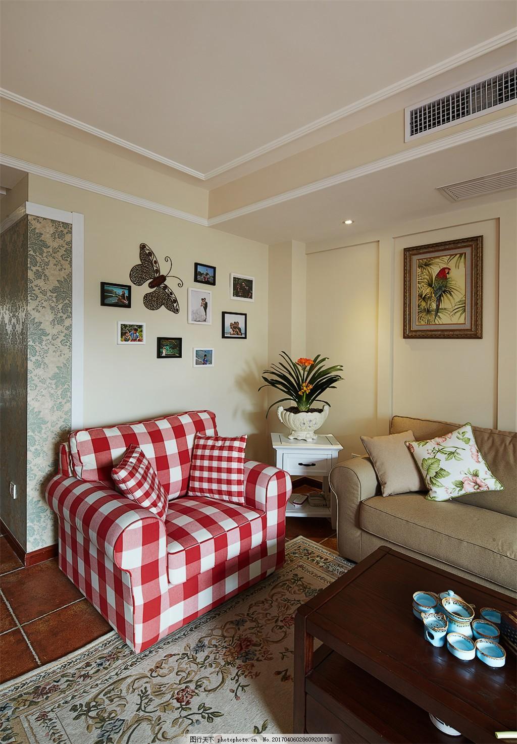 美式客厅格式沙发背景墙设计图 家居 家居生活 室内设计 装修 家具图片