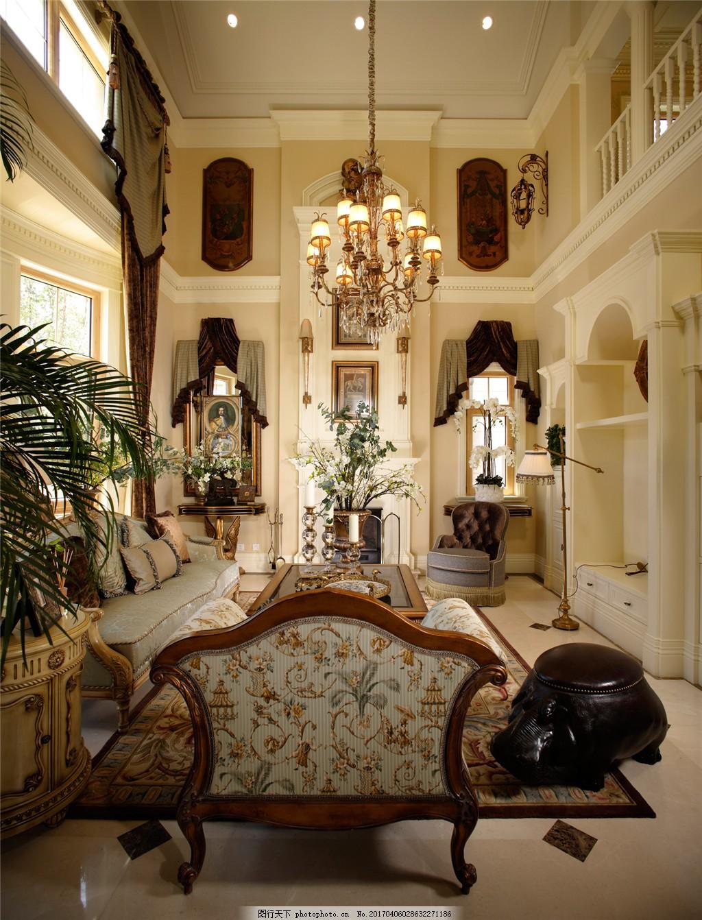 豪华客厅室内设计家装效果图 欧式 绿树 花纹椅背 挂灯 沙发