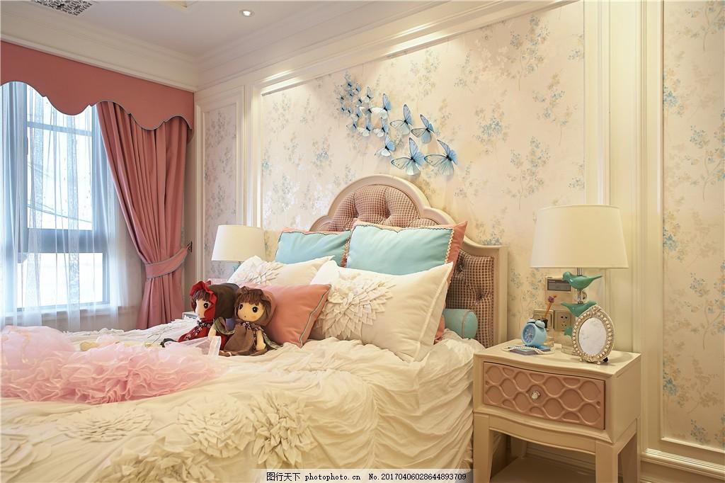现代美式公主房装修效果图图片