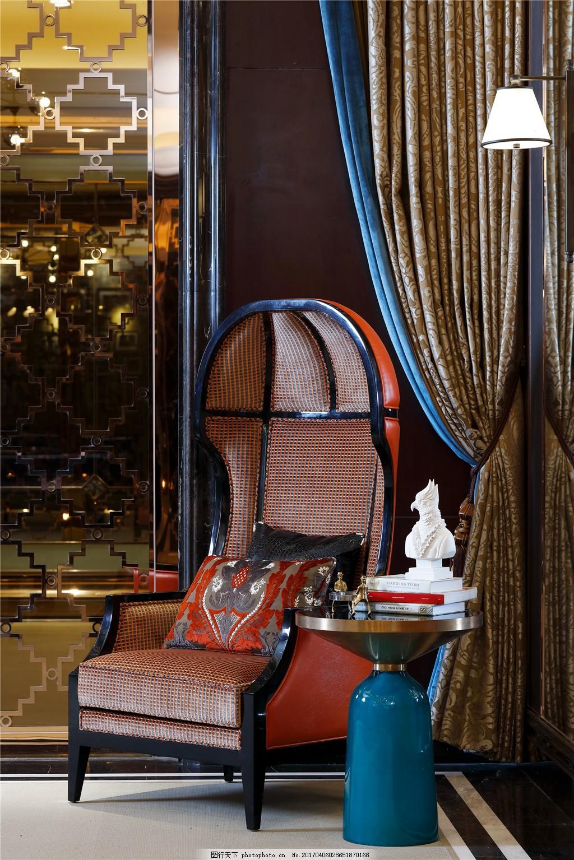 欧式风室内设计家装效果图 欧式格 室内设计 豪华座椅 暗色系 创意桌