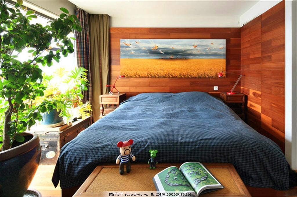 现代中式卧室装修效果图,家装效果图 客房 客厅效果图