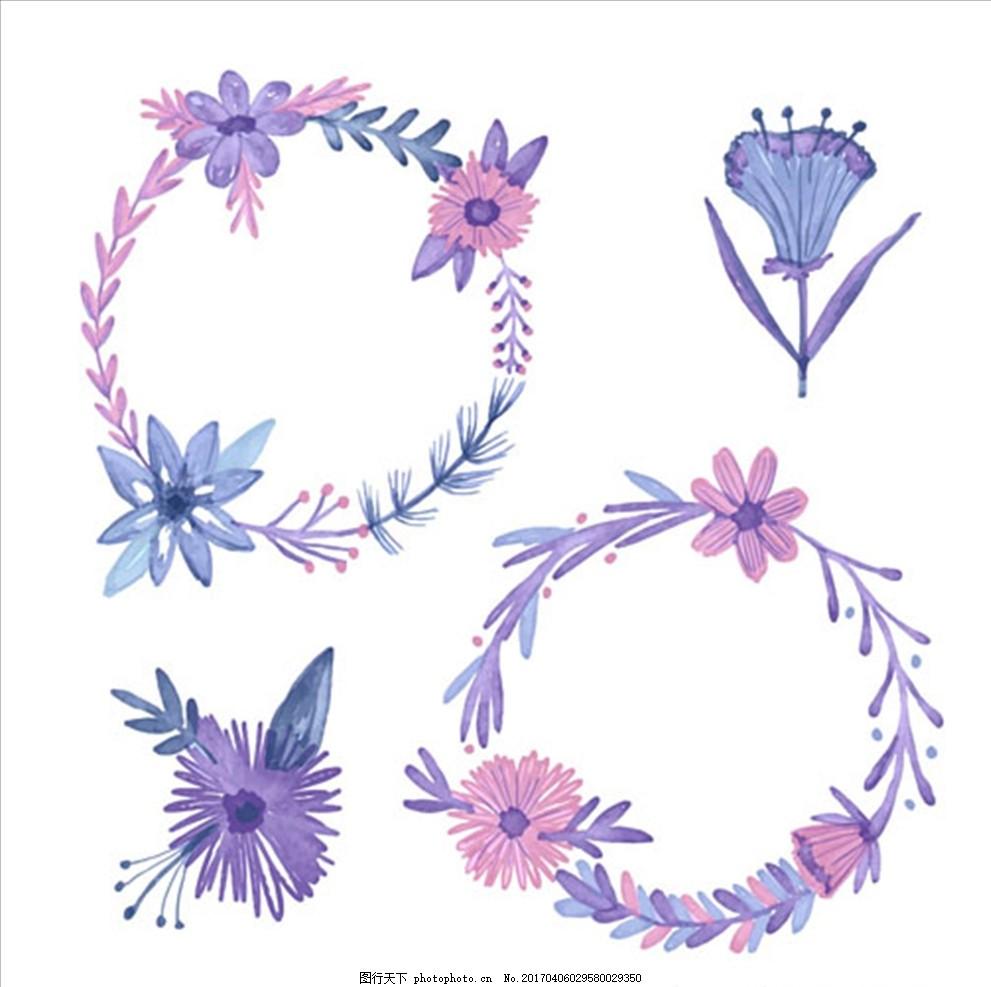 手绘水彩春季装饰花环