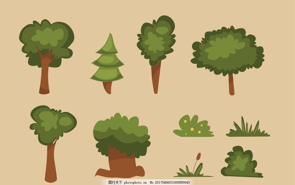 剪贴 拼贴 树苗 树林 苗木 绿色 叶子 树叶 贴纸 剪纸 剪影 绘画 儿童