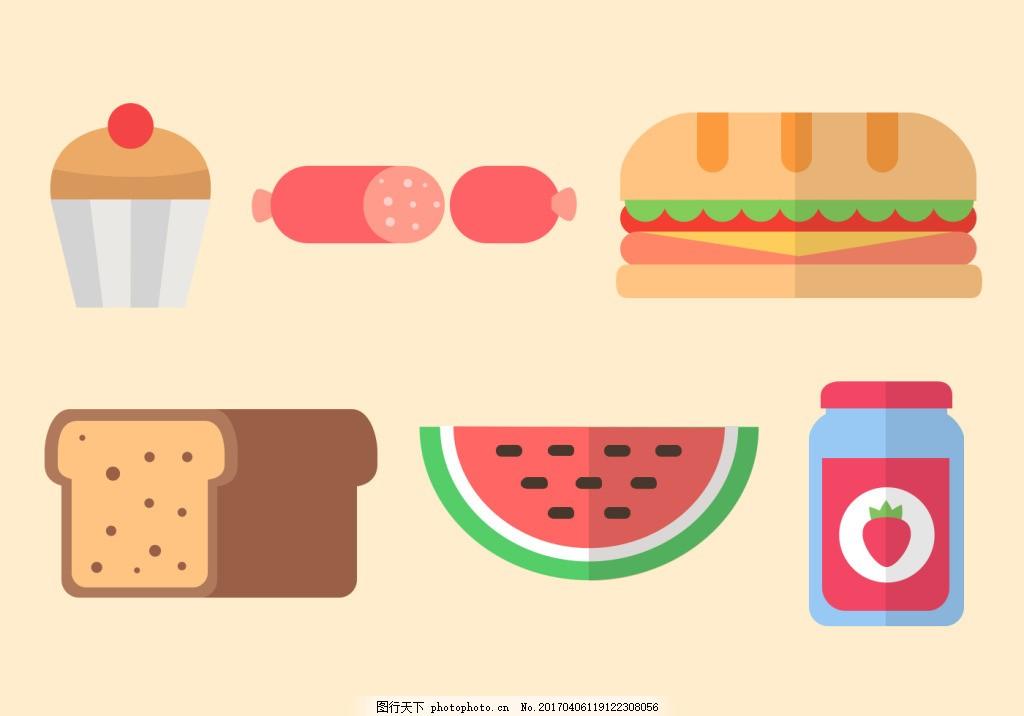 手绘扁平化美食图标 手绘美食 美食 食物 手绘食物 矢量素材 美食插画