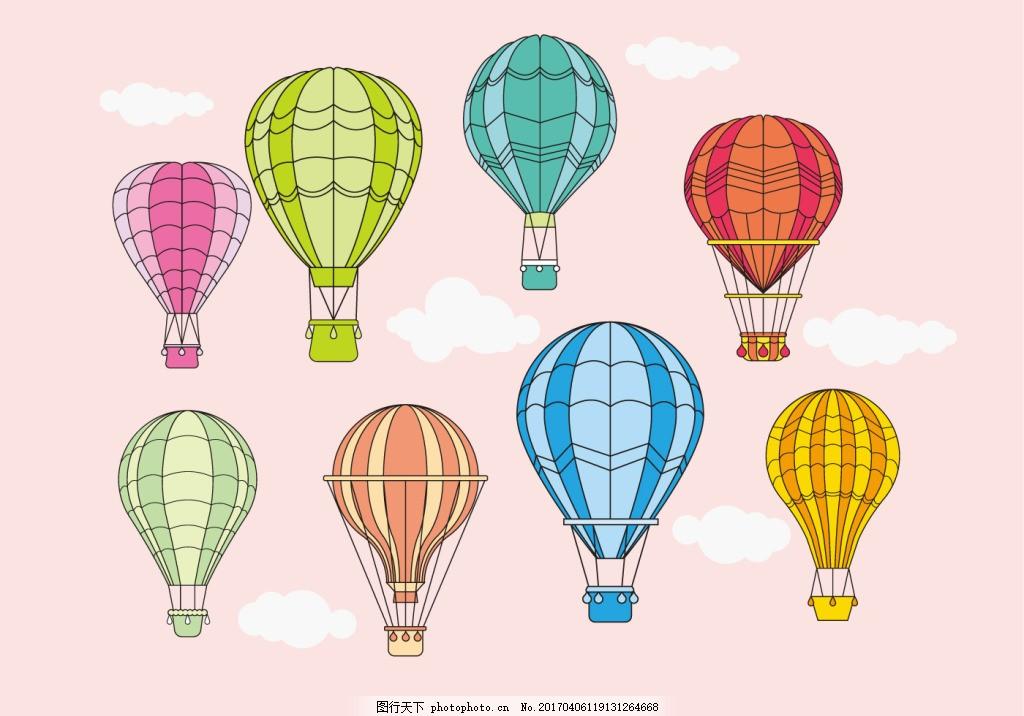 手绘矢量热气球