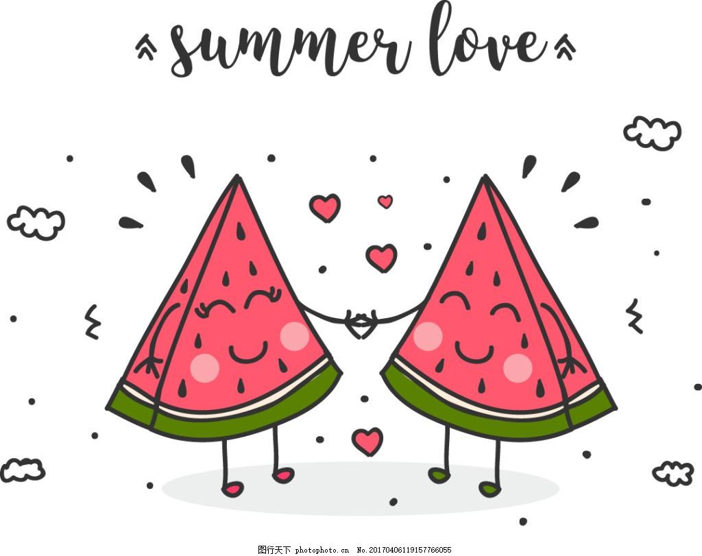 手绘可爱西瓜插画 西瓜 可爱插画 手绘西瓜 矢量素材 手绘水果 拟人