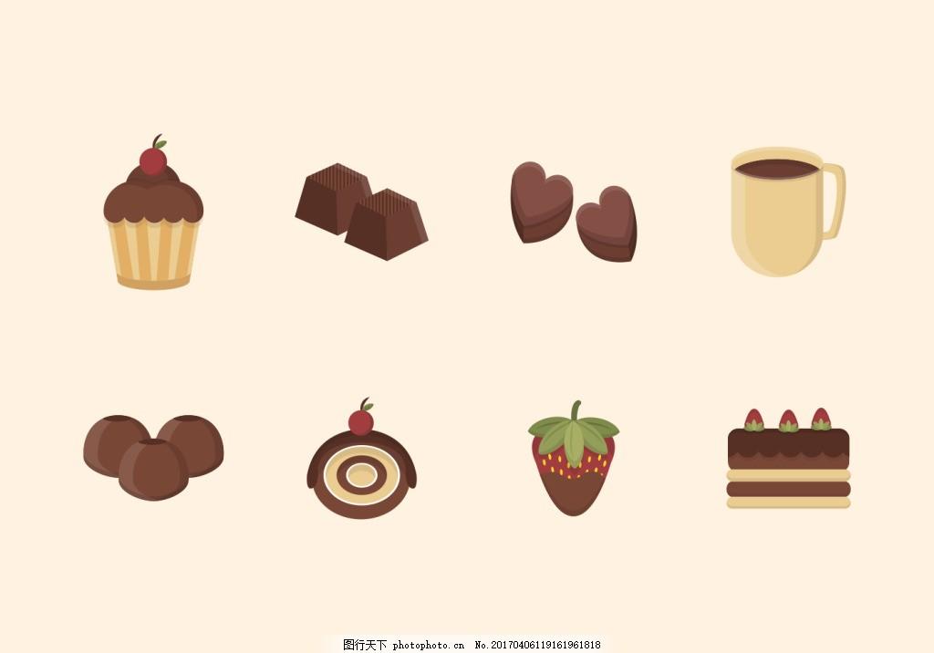 甜美手绘巧克力甜品素材