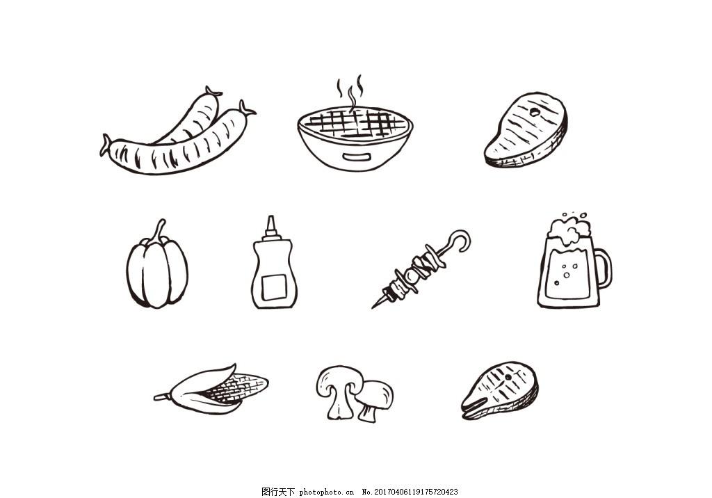 矢量素材 手绘食物 食物 美食 香肠 烧烤炉 牛排 玉米 蔬菜 啤酒 串肉