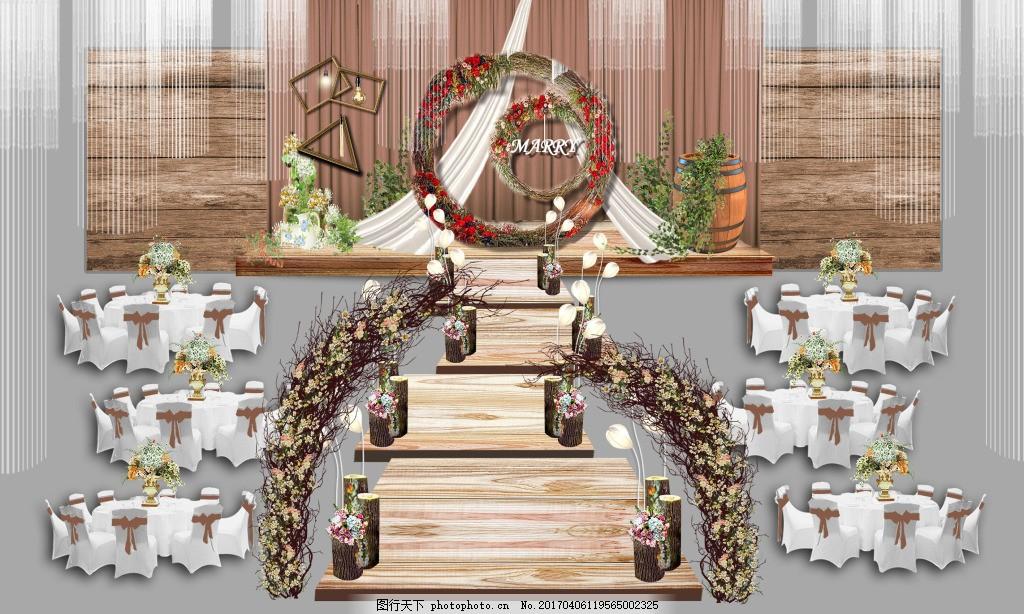 婚礼效果图 森系 美式田园 乡村 咖色 木纹 入场花门 路引 酒桶