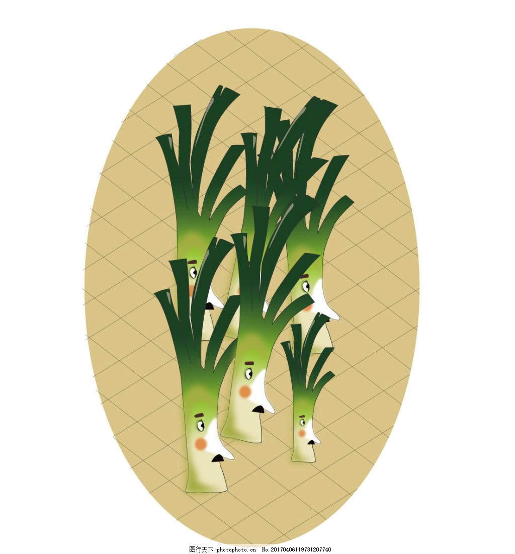 卡通大葱图案 蔬菜 田园 葱 家庭 群像 忧郁 网格 背景图片