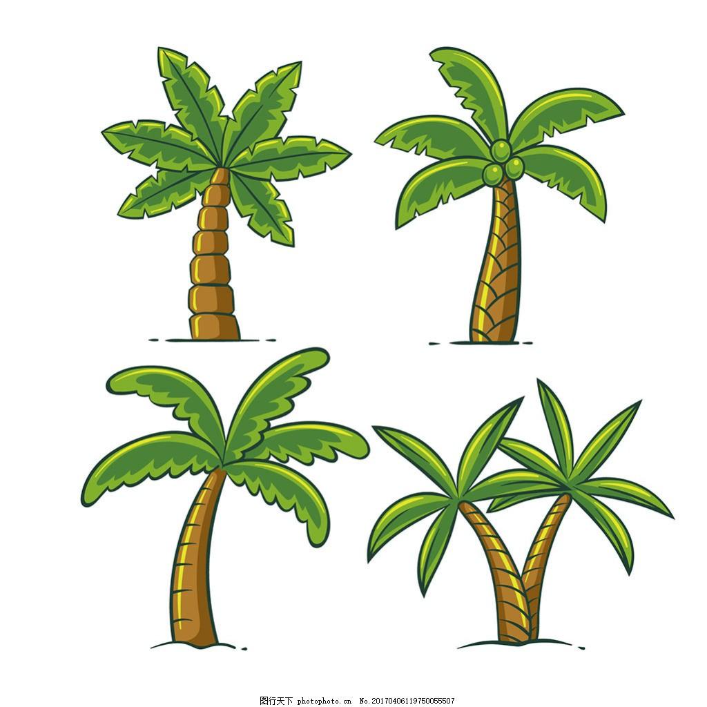 手绘棕榈树插图矢量素材