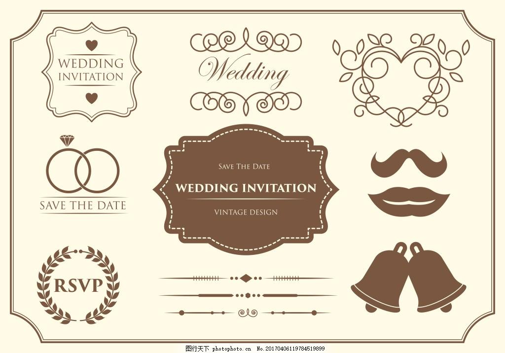 婚礼装饰图案 手绘花卉 花卉花朵 花卉花环 花环素材 矢量素材