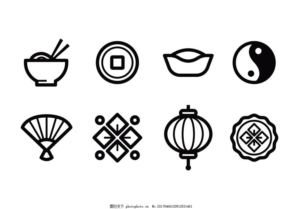 线性中国元素图标