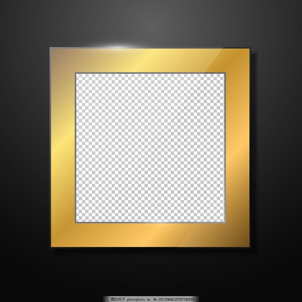 正方形金色框架背景