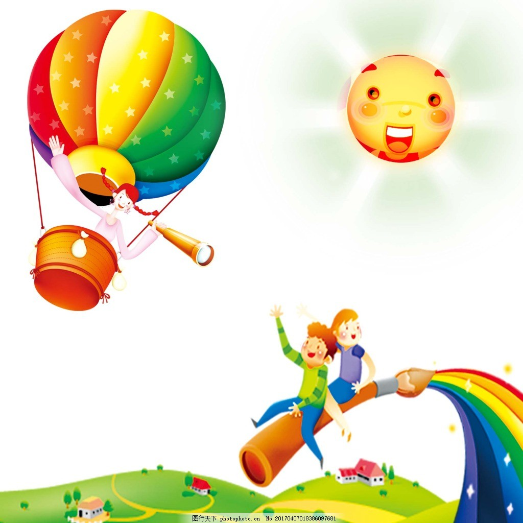 卡通人物彩虹热气球