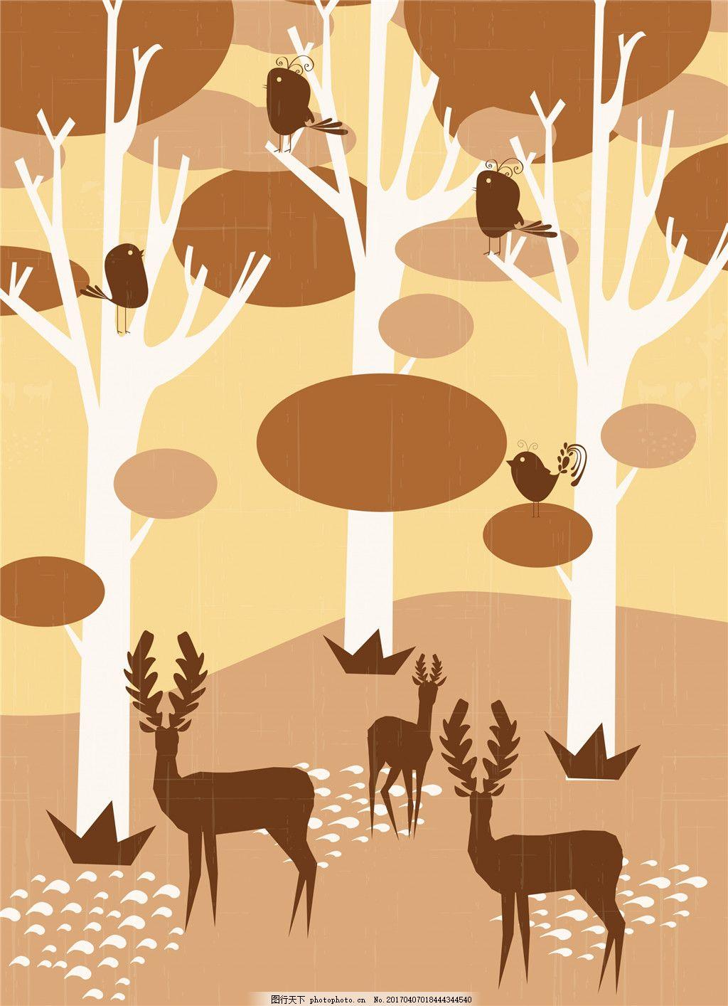 扁平化秋季森林插画 秋季插画 树木 剪影 麋鹿 麋鹿剪影 手绘动物