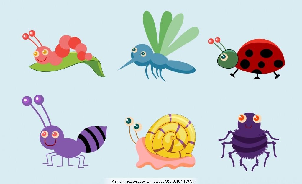 可爱卡通昆虫 卡通昆虫 昆虫 昆虫素材 可爱昆虫 蜘蛛 蚂蚁 蜗牛 蚊子
