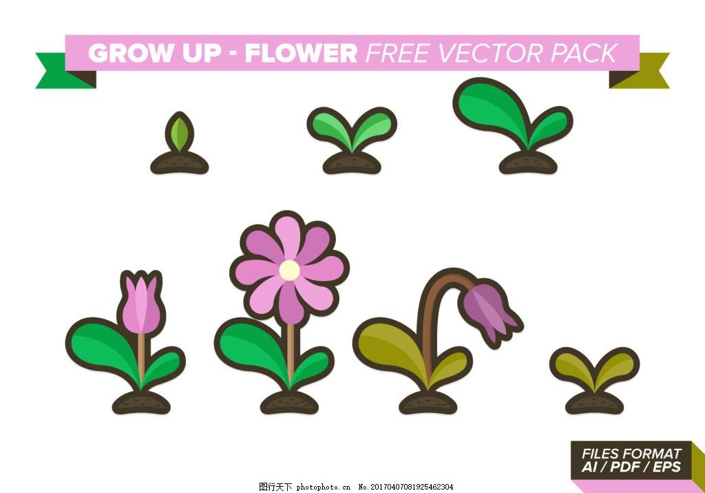 可爱手绘花朵成长过程 手绘花卉 花卉花朵 矢量素材 植物 手绘植物