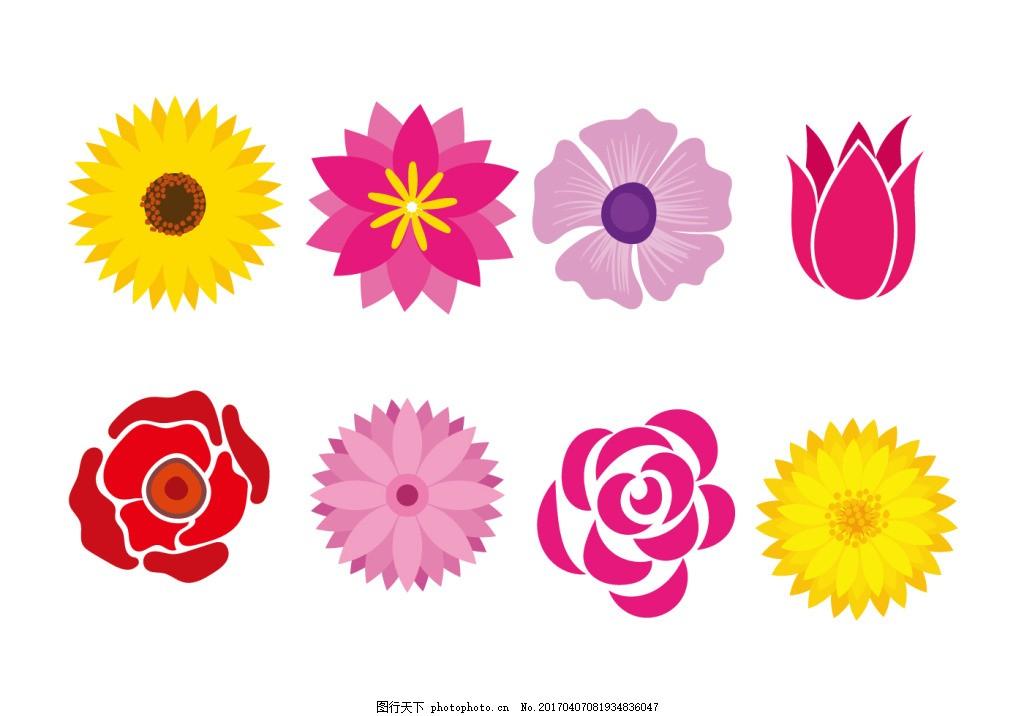 创意花朵图标 手绘鲜花 手绘花卉 花卉花朵 矢量素材 唯美 矢量花朵