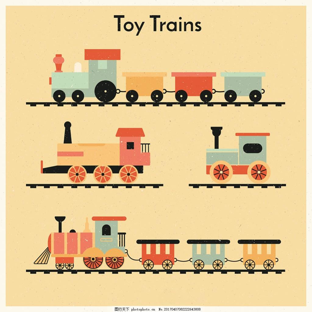 手绘卡通风格玩具火车插图 手绘 卡通风格 玩具火车 插图 复古 矢量素