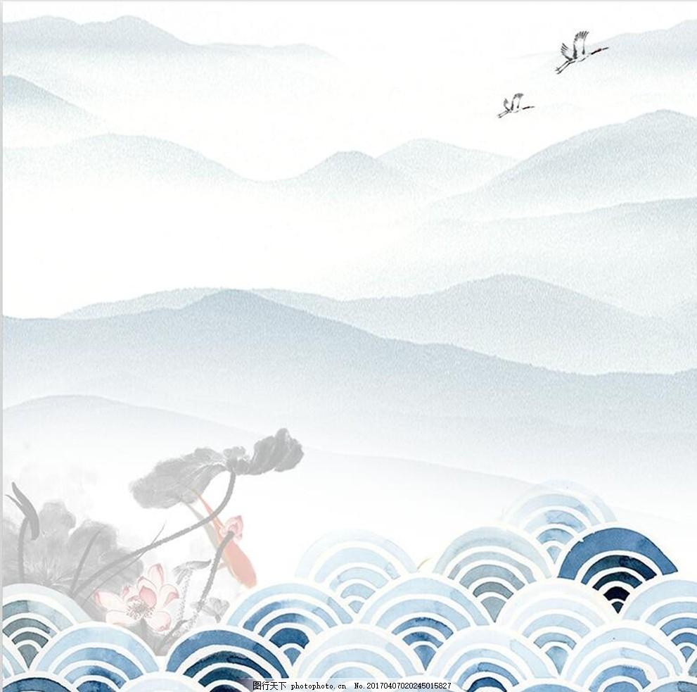水墨画 中国风 墨点素材 中国风背景 风景画 古风 设计 底纹边框 背景