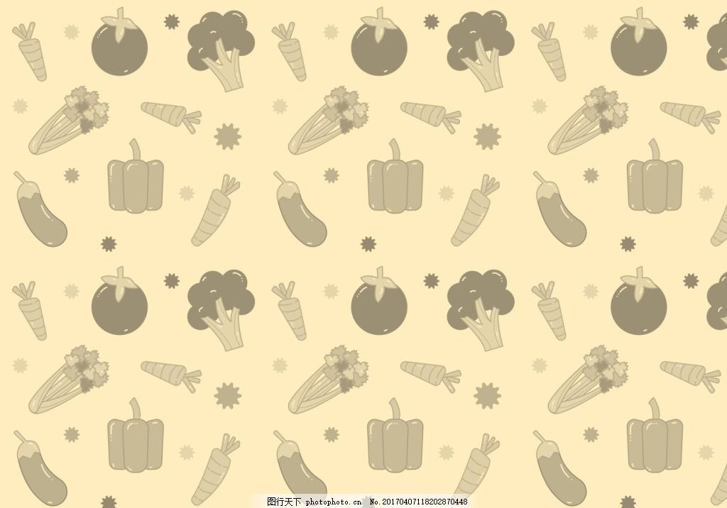 怀旧手绘蔬菜背景素材 水果 矢量素材 扁平化蔬菜 食物 美食 手绘食物