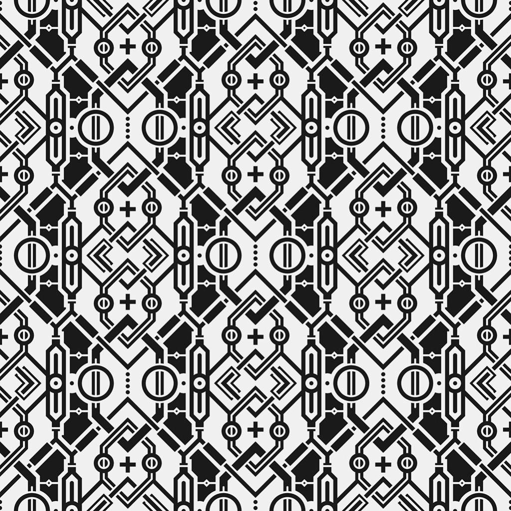 黑白几何抽象装饰图案