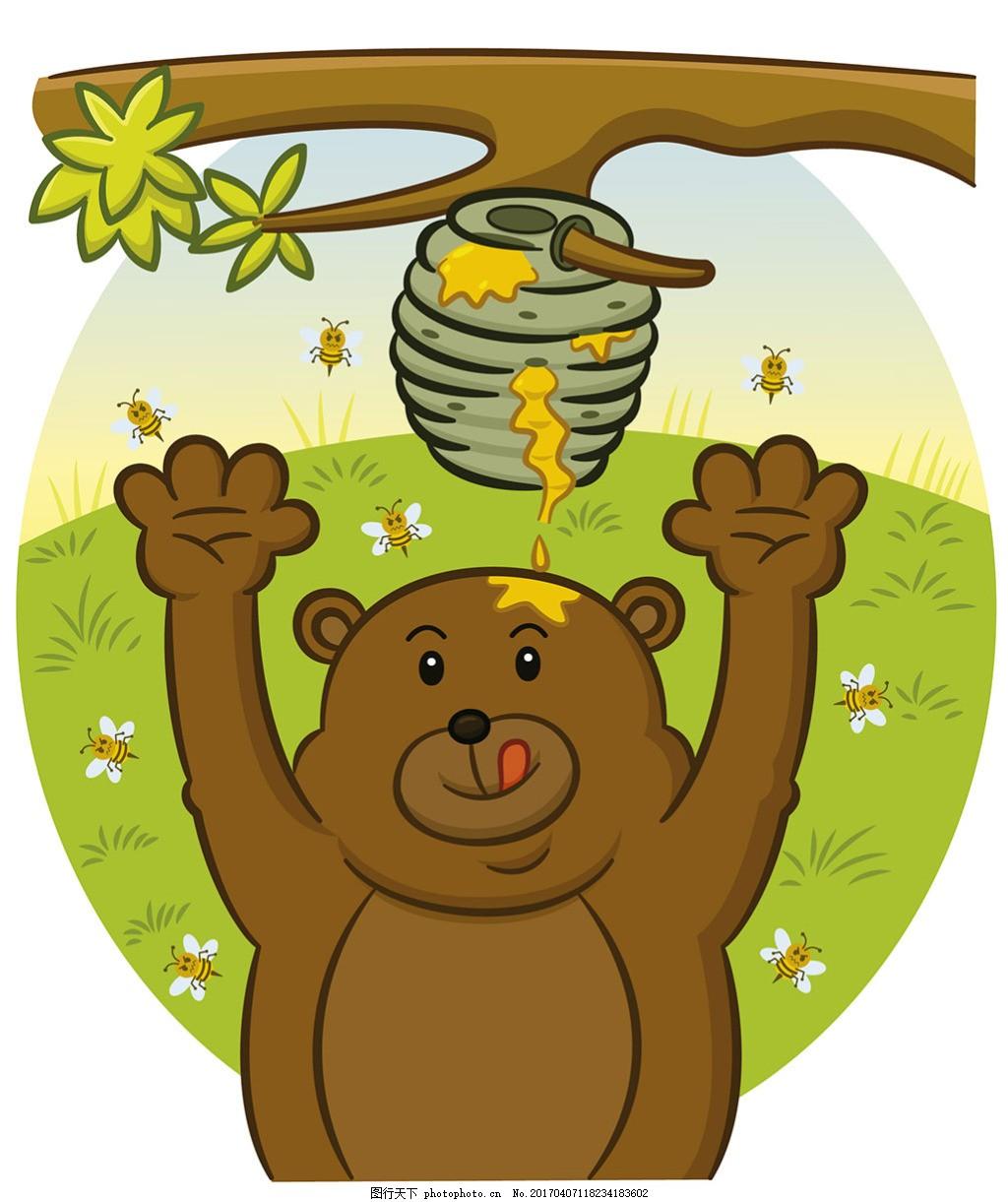 手绘熊试图吃蜂蜜背景